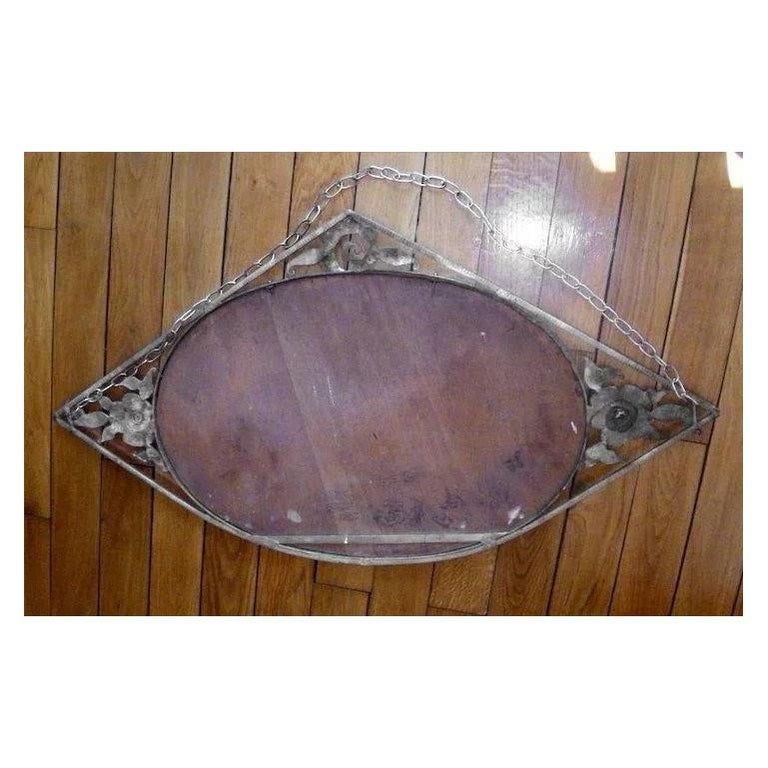 Morin French Art Deco Wrought-Iron Wall Mirror, 1930s In Good Condition For Sale In Saint-Amans-des-Cots, FR
