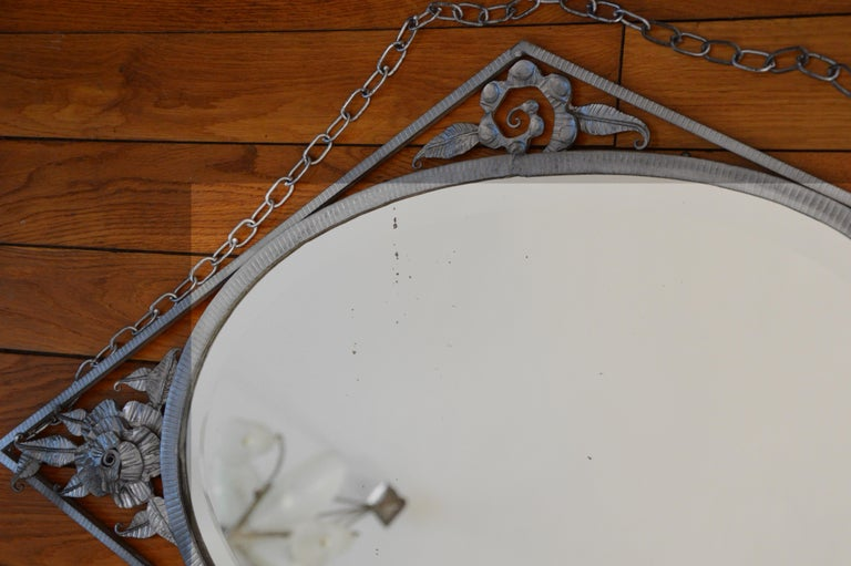 Morin French Art Deco Wrought-Iron Wall Mirror, 1930s For Sale 1