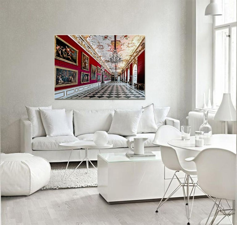Royal Red by Moritz Hormel contemporary photography of a palace interior For Sale 4