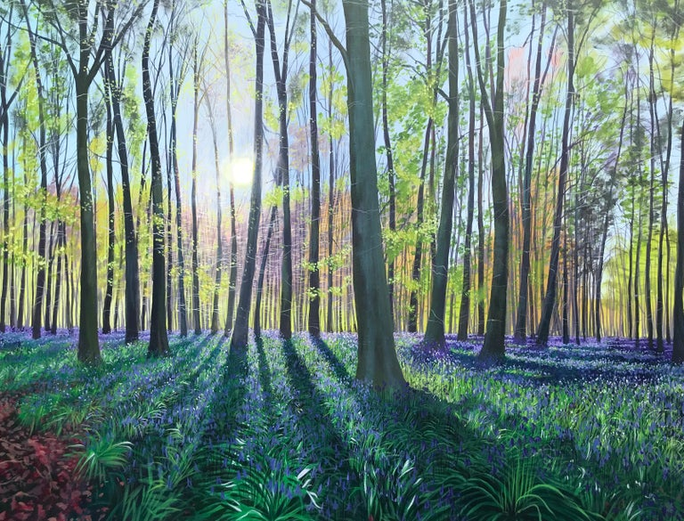 Other Morning Bluebells, Contemporary Landscape Painting For Sale