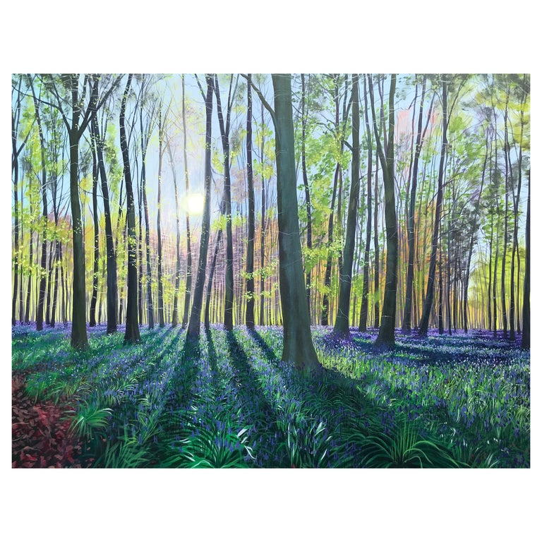 Morning Bluebells, Contemporary Landscape Painting For Sale