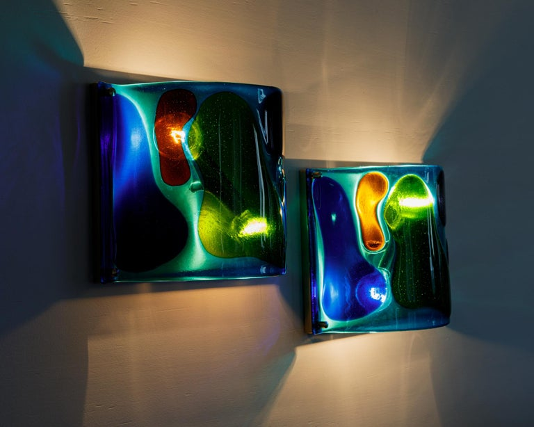Morning Dew, Pair of One of a Kind Glass Contemporary Sconces In New Condition For Sale In Los Angeles, CA