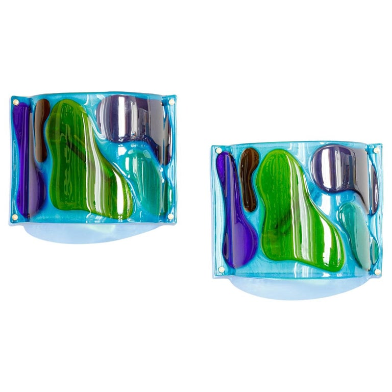 Morning Dew, Pair of One of a Kind Glass Contemporary Sconces For Sale