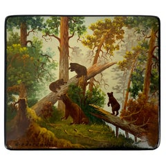 """Morning in the Woods"" a Russian Lacquer Box after a Painting by Ivan Shishkin"