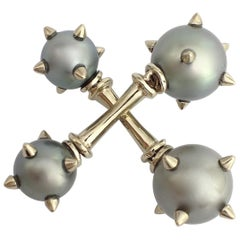 Petronilla Morning Star Cufflinks South Sea Pearl 18 Karat Gold Made in Italy