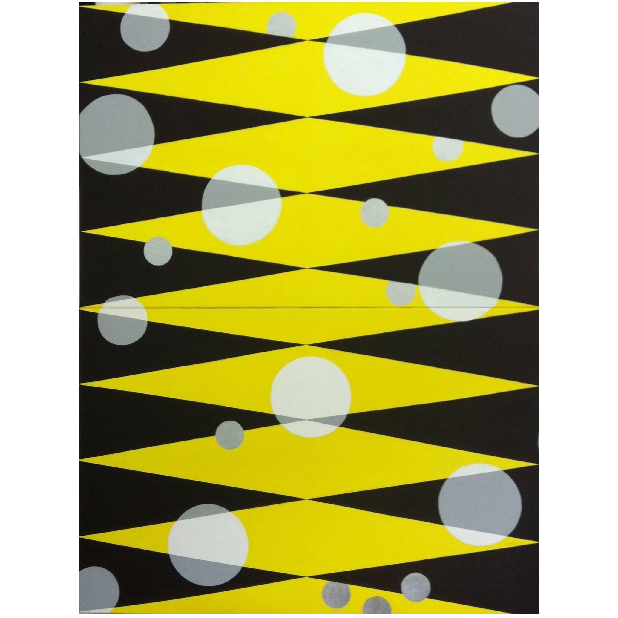 """Morning Sun"" 2013 yellow black geometrical Acrylic Canvas by Cecilia Setterdahl"