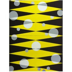 """Morning Sun"" 2013 yellow black geometrical Acrylic Canvas by Cecilia Setterdahl"