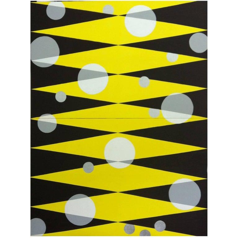 """Morning Sun"" 2013 yellow black geometrical Acrylic Canvas by Cecilia Setterdahl For Sale"