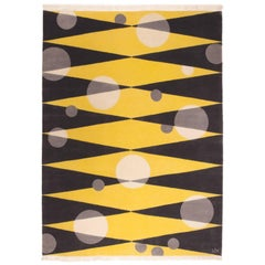Hand Knotted Yellow Wool Rug w/ Circles & Geometric Shape Design by Carpets CC