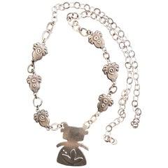 Morning Walker, cast sterling silver link necklace, Hopi woman, plants, circles