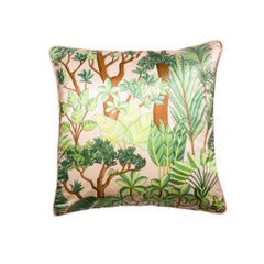 Morny Pêche Pink and Green Floral Printed Silk Pillow/Cushion
