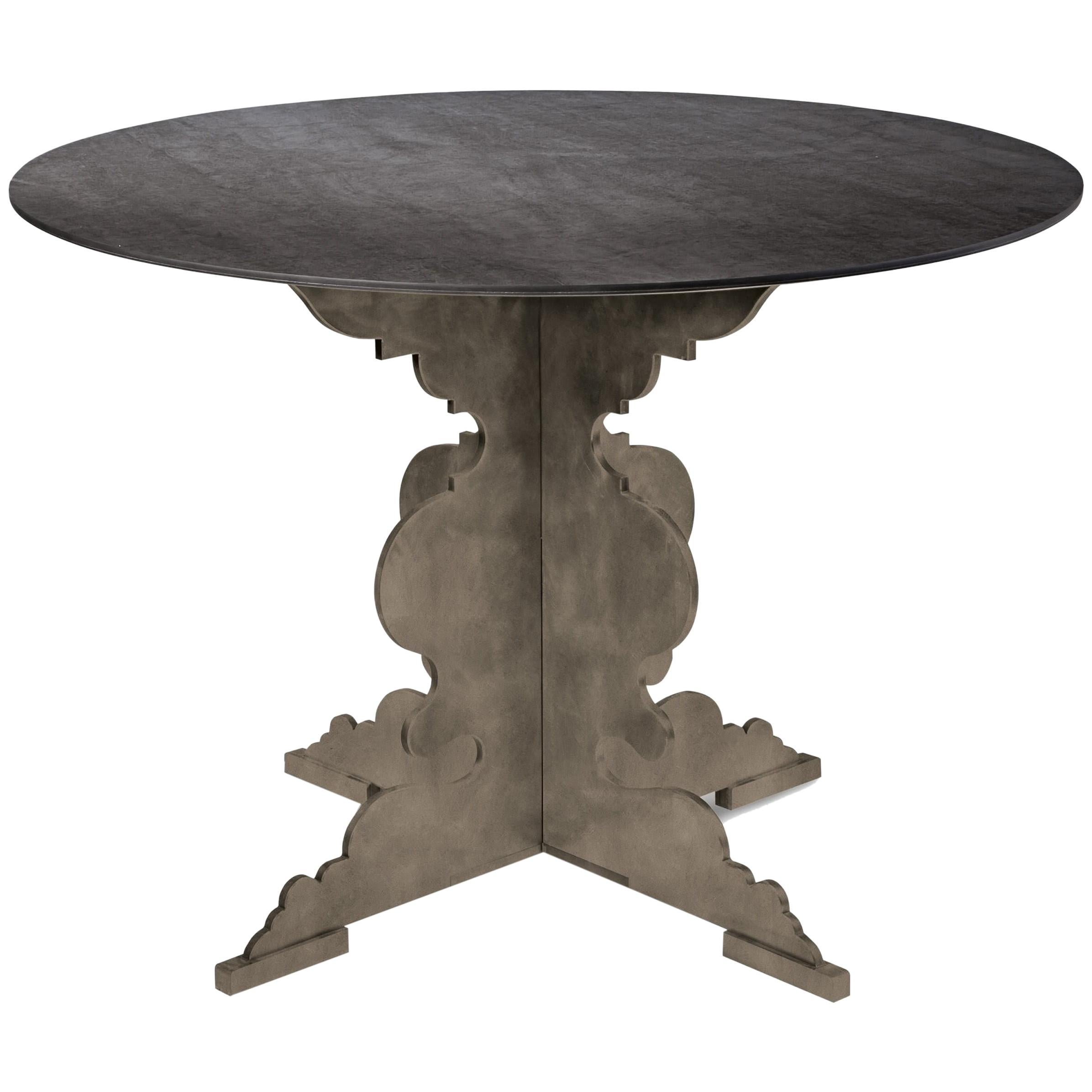 Delicieux Moro Contemporary Round Dining Table With Steel Base For Sale