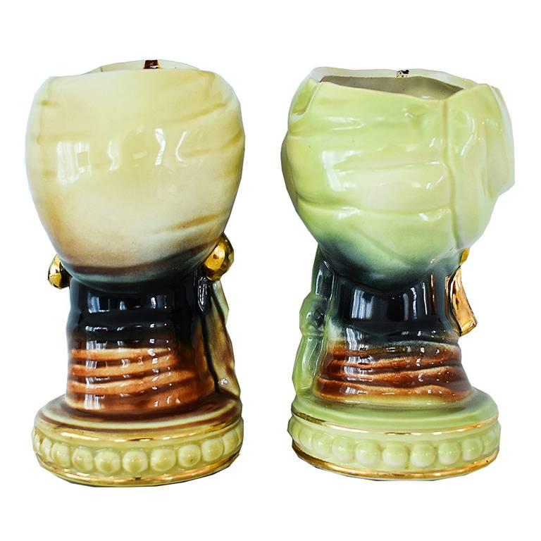 Mid-Century Modern Art Deco Painted Head Vase Planters in Gold and Green, Pair For Sale