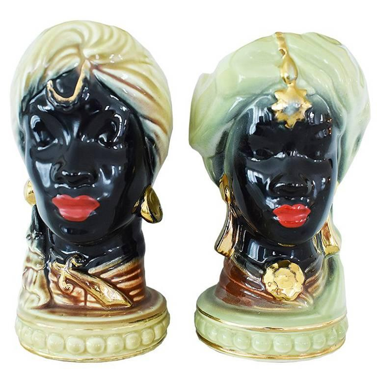 Art Deco Painted Head Vase Planters in Gold and Green, Pair For Sale