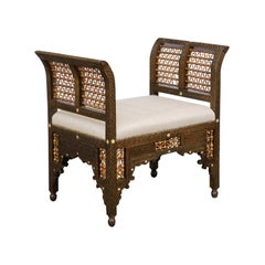 Moroccan 1900s Carved Two-Toned Wooden Upholstered Bench with Out-Scrolling Arms