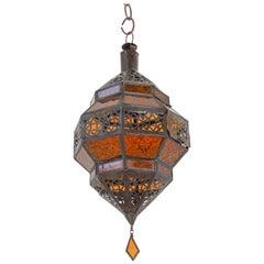 Moroccan Amber Glass Lantern, Octagonal Diamond Shape