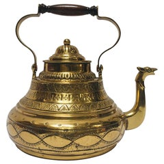 Moroccan Antique Brass Tea Kettle Pot with Camel Spout