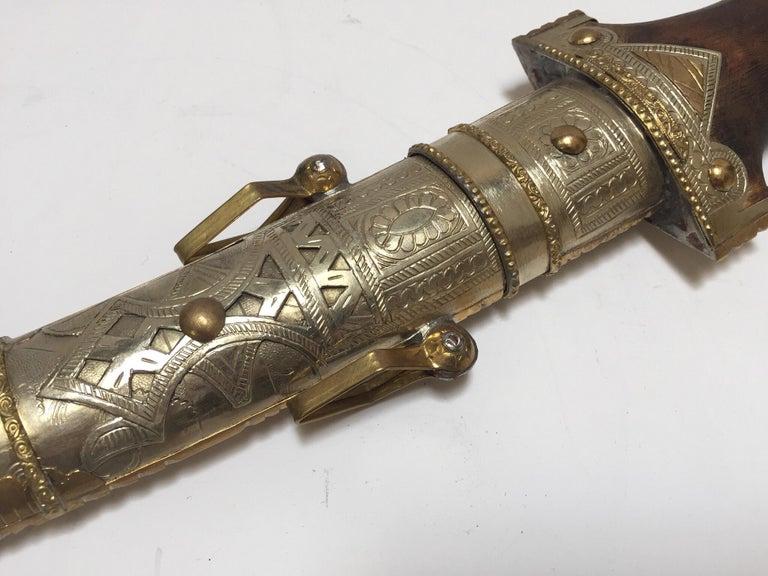 20th Century Moroccan Arabian Jambiya Sword Large Dagger For Sale