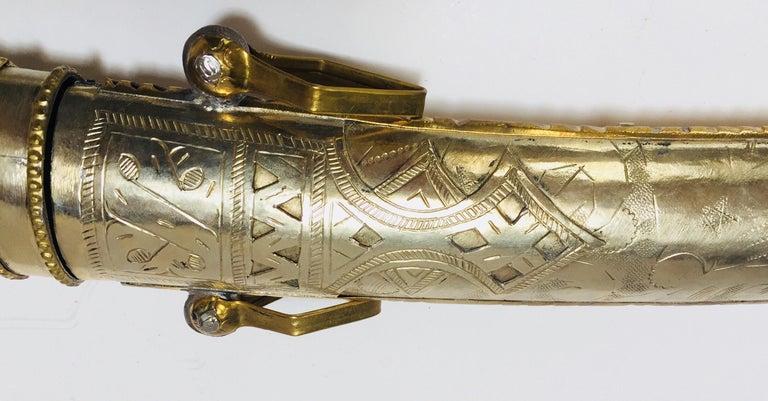Metal Moroccan Arabian Jambiya Sword Large Dagger For Sale
