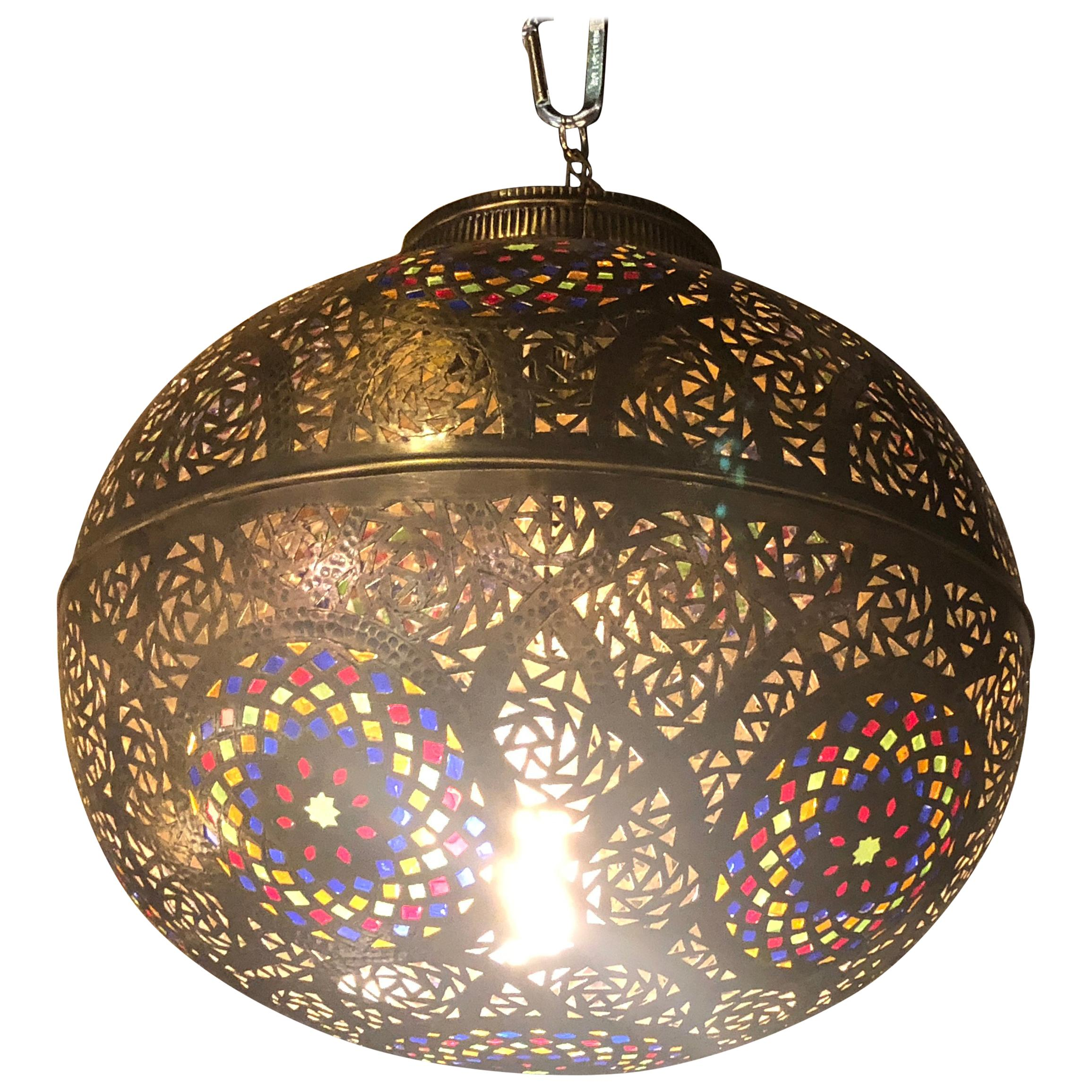 Moroccan ball shaped copper and multi color glass pendant lighting