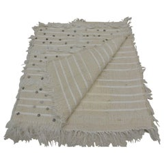 Moroccan Beige and White Wedding Blanket or Throw