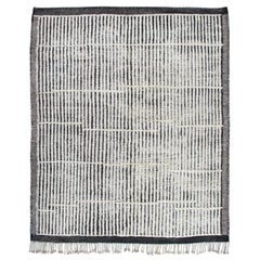 Moroccan Berber Hand-Knotted Rug with Grey, Charcoal and Ivory  Stripes