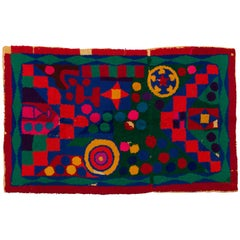 Moroccan Berber Large Handmade Tapestry Bright Red Yellow Green and Blue