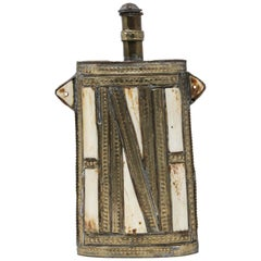 Moroccan Berber Metal Tribal Flask with Bone Inlay