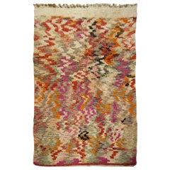 Moroccan Berber Rug Abstract Design Pink Wool White Blue Beige Vintage