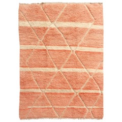 Moroccan Berber Rug Abstract Design Salmon Pink Woolwhite Stunning Quality