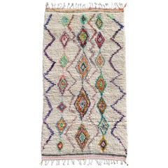 Moroccan Berber Rug Azilal Diamond Design Beige Pink Orange Blue