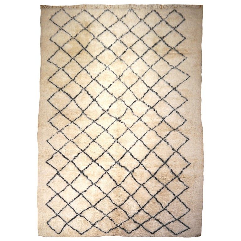 Moroccan Berber Rug Beni Ourain Diamond Design White Black Colors
