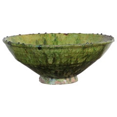 Moroccan Berber Tamgroute Green Terracotta Glazed Bowl