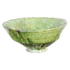 Moroccan Berber Tamgroute Terracotta Green Glazed Bowl