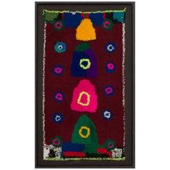 Moroccan Berber Vintage Handmade Tapestry Bright and Dark Wool Colors