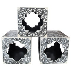 Moroccan Black and White Bone Side Table Cubes