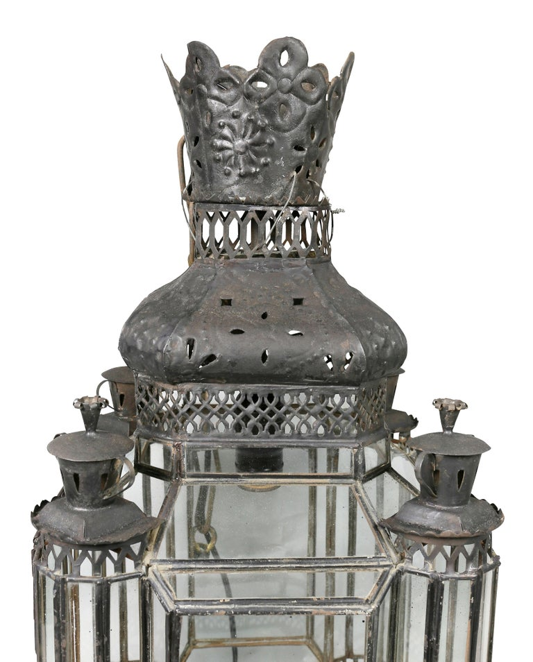 Arts and Crafts Moroccan Black Painted Tole Hall Lantern For Sale