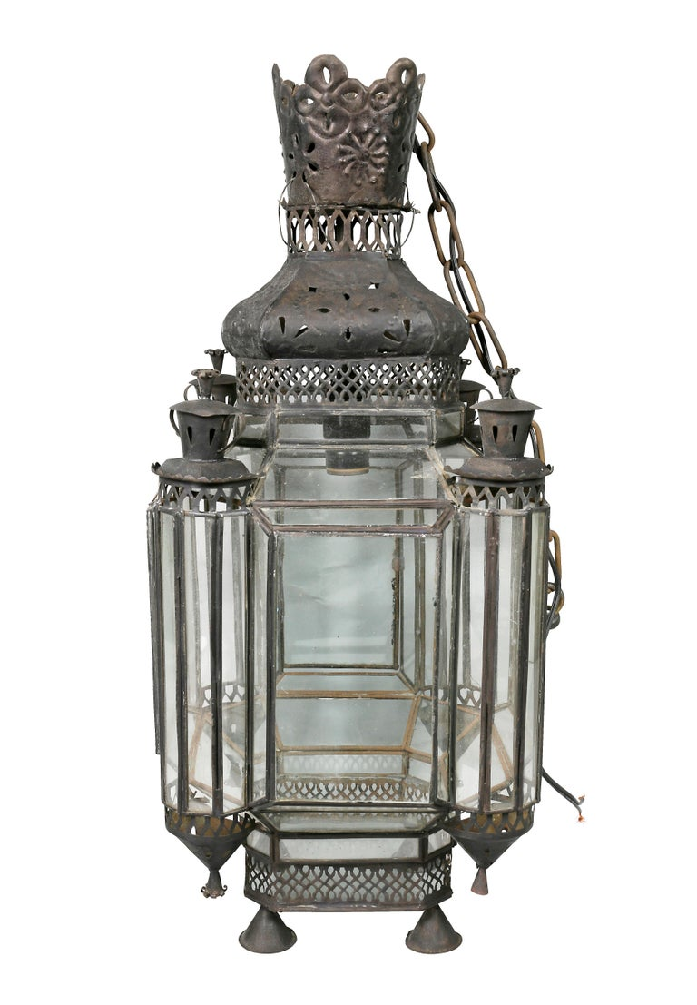 Late 19th Century Moroccan Black Painted Tole Hall Lantern For Sale