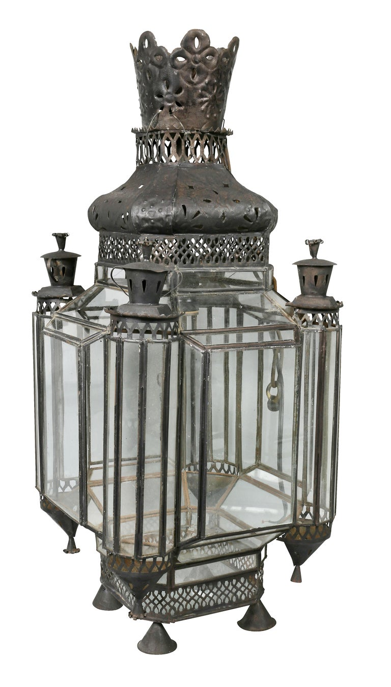 Tôle Moroccan Black Painted Tole Hall Lantern For Sale
