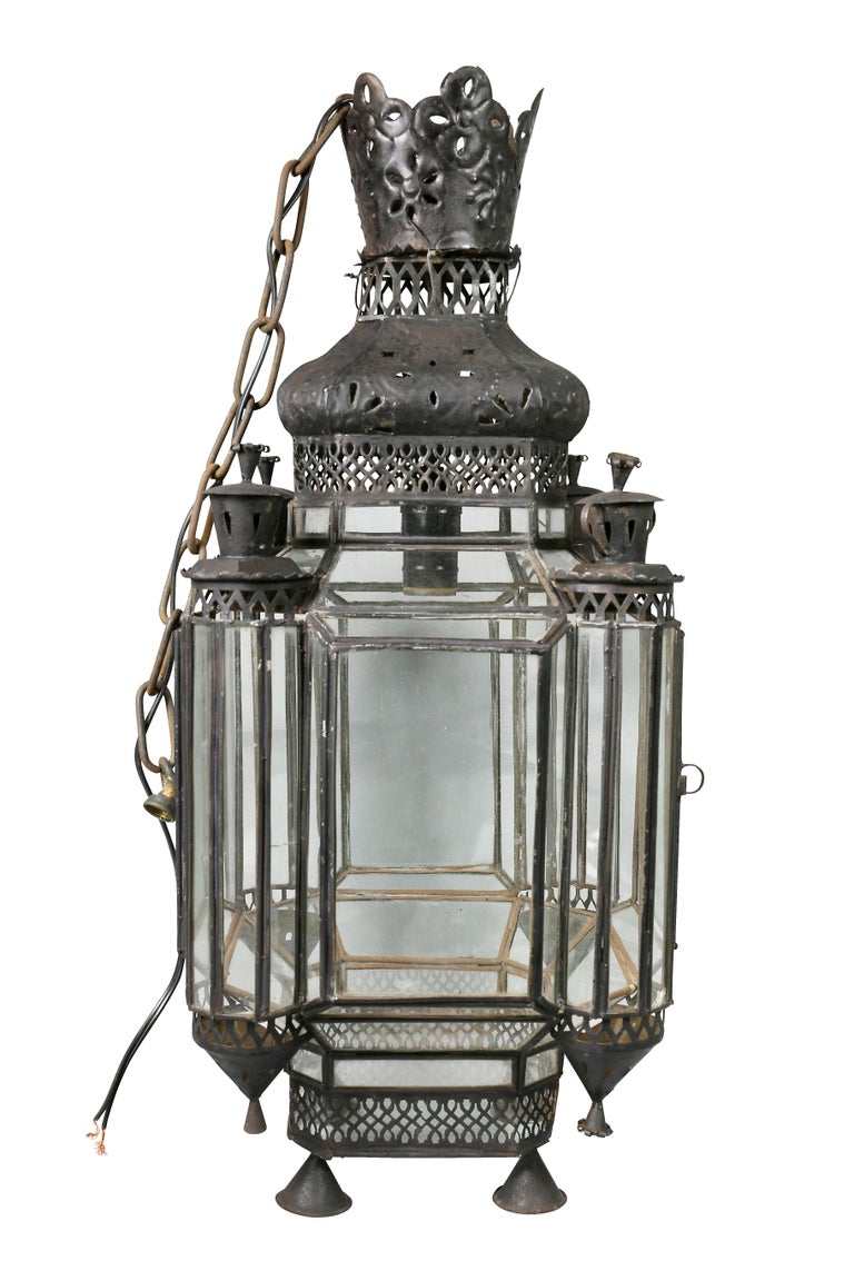 Moroccan Black Painted Tole Hall Lantern For Sale 1