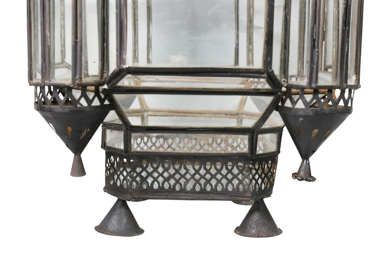 Moroccan Black Painted Tole Hall Lantern For Sale 2