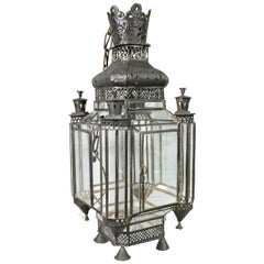 Moroccan Black Painted Tole Hall Lantern