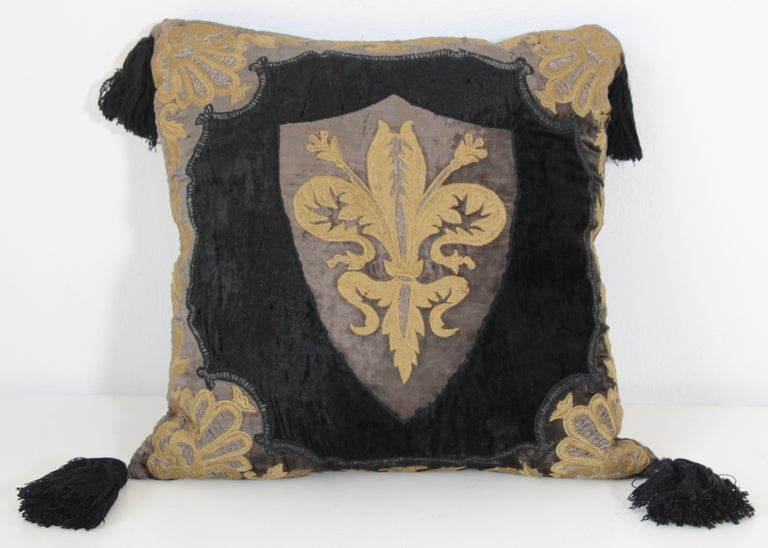 Moroccan Black Silk Decorative Pillow with Gold Metallic Threads and Tassels For Sale 5
