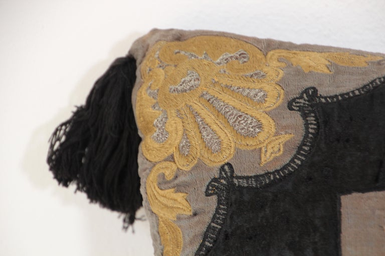 Moroccan Black Silk Decorative Pillow with Gold Metallic Threads and Tassels For Sale 8
