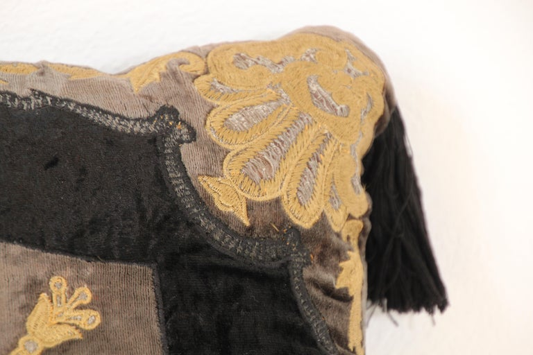 Moroccan Black Silk Decorative Pillow with Gold Metallic Threads and Tassels For Sale 9