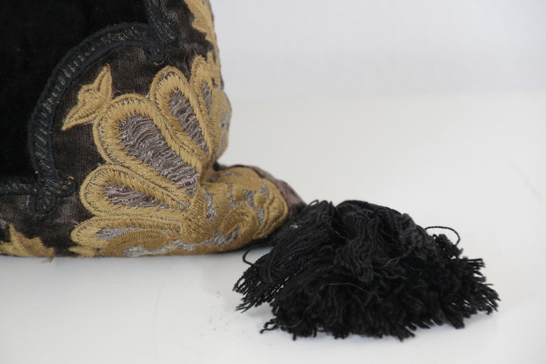 Moroccan Black Silk Decorative Pillow with Gold Metallic Threads and Tassels For Sale 10