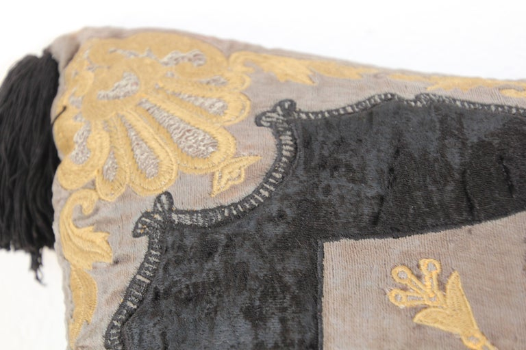 Moroccan Black Silk Decorative Pillow with Gold Metallic Threads and Tassels For Sale 13