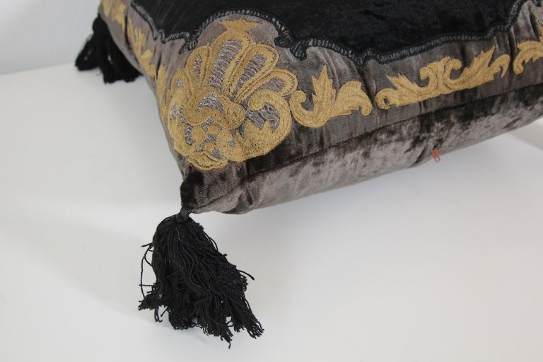 Moroccan Black Silk Decorative Pillow with Gold Metallic Threads and Tassels For Sale 14