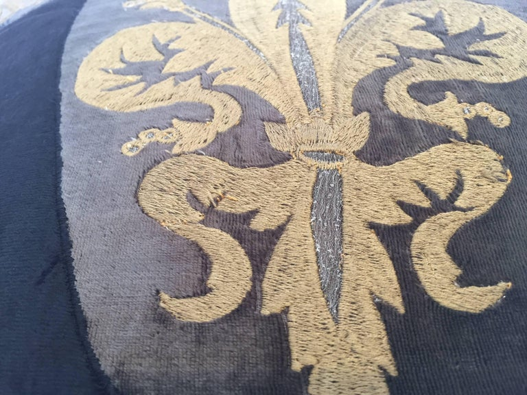 Moroccan Black Silk Decorative Pillow with Gold Metallic Threads and Tassels For Sale 3