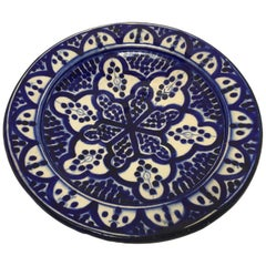 Moroccan Blue and White Handcrafted Ceramic Plate